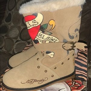 Ed Hardy suede boots